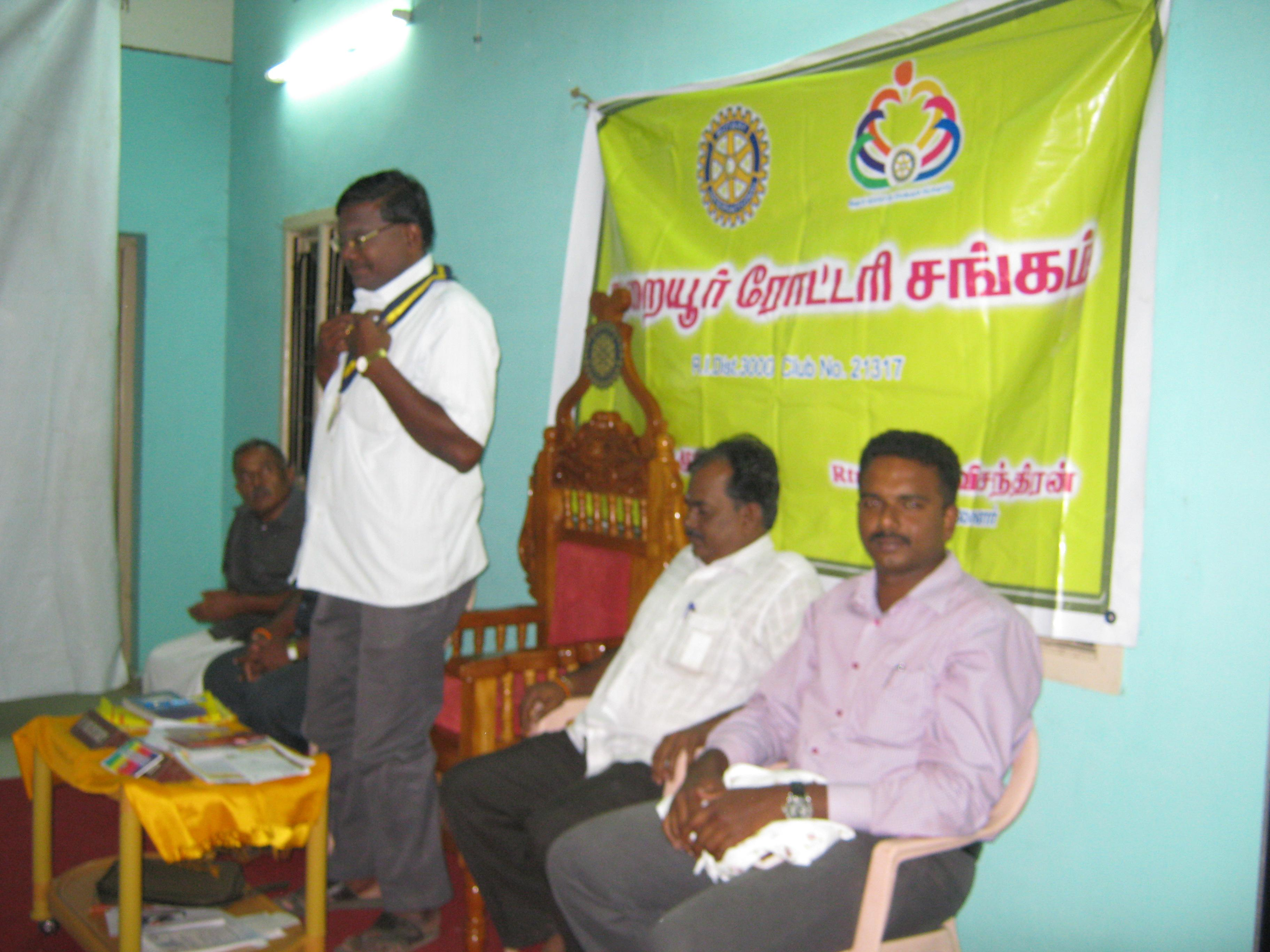Global Warming Awareness to the members of Thuraiyur Rotary Club