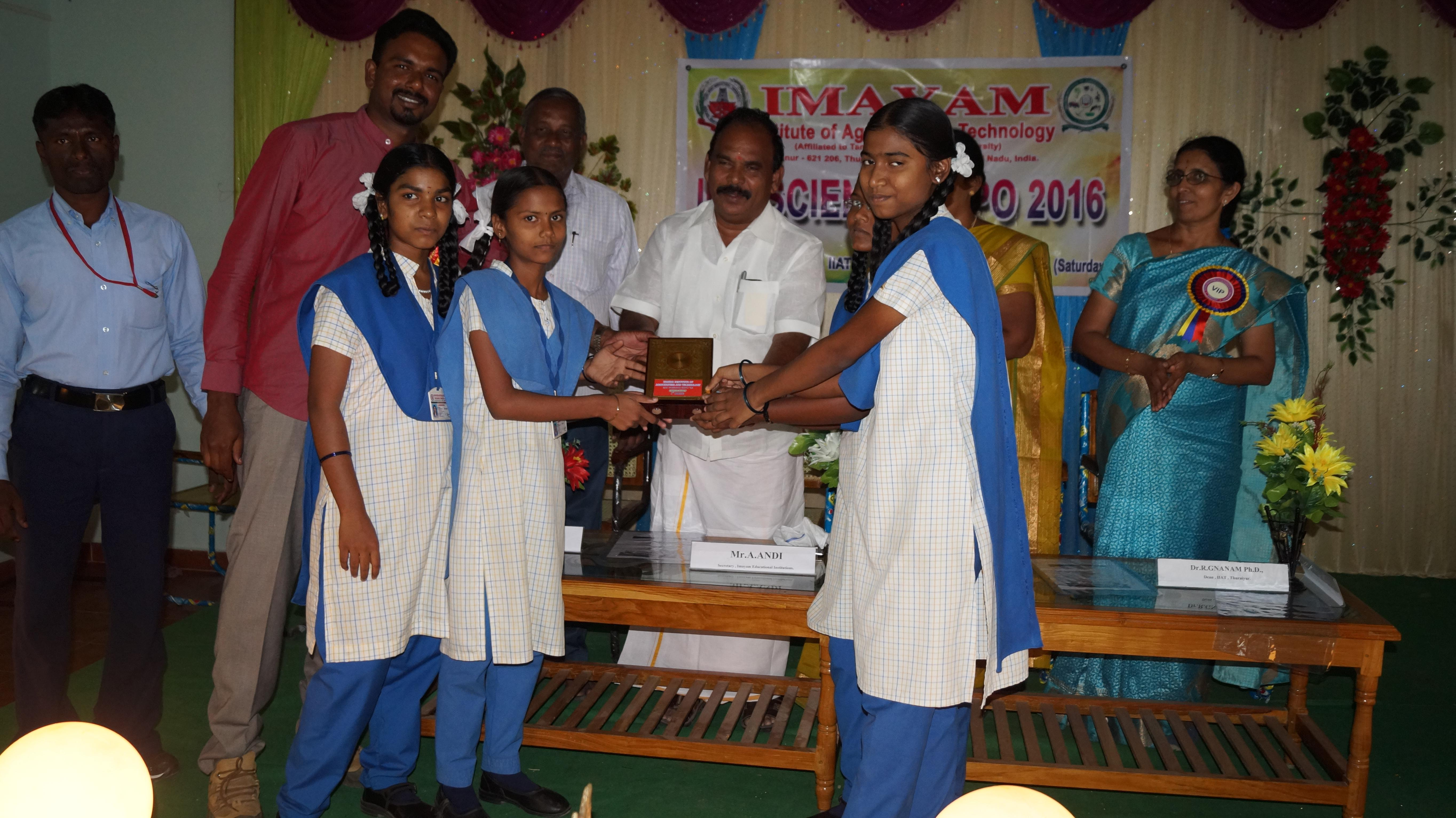 First Prize in Science day Competition by Imayam Institute of Agriculture & Technology Trichy