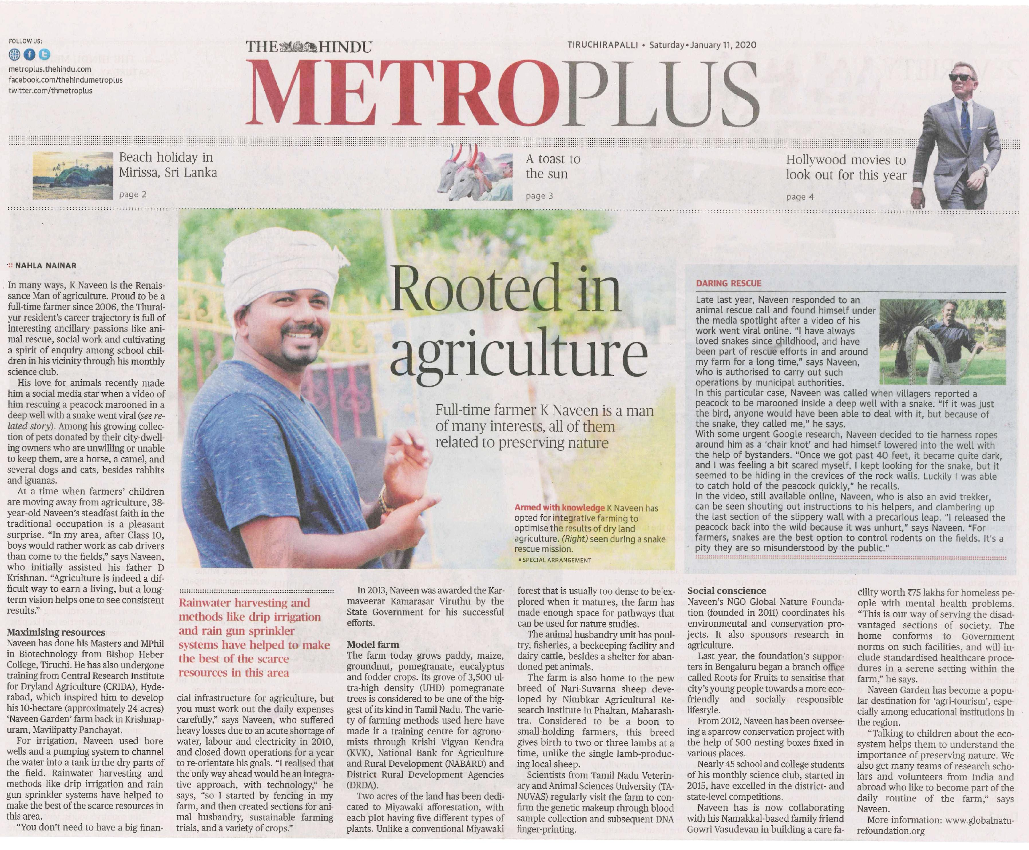 An ARTICLE has been published in THE HINDU METRO PLUS