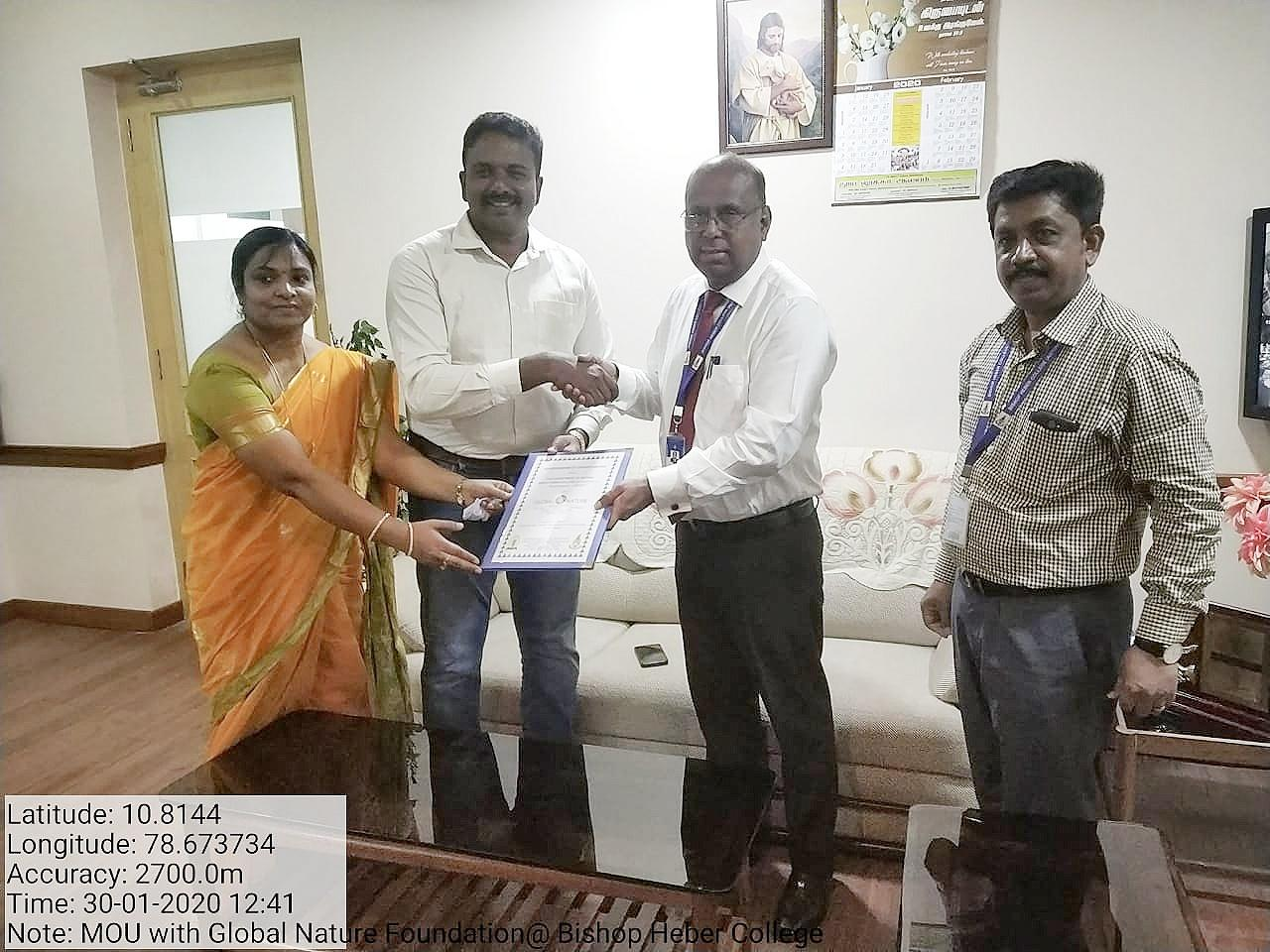 The GNF signed the MOU with the Botany Department of Bishop Heber College, Trichy.